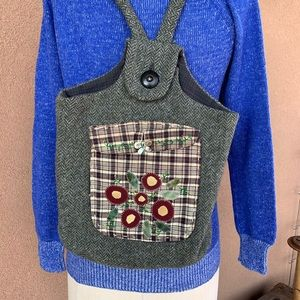 Unique Handmade Wool Backpack with Flowers